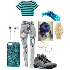 """""""Light Blue"""" by goldenloveness on Polyvore Cheap Air Jordan V (5) 3Lab5 only $53.6, save up to 70% off for all #Nikes #Shoes"""