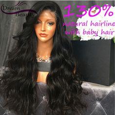 Body sóng glueless ren phía trước tóc giả trinh trinh brazil tóc đầy đủ ren tóc giả tóc con người cho phụ nữ da đen 130% full lace wig