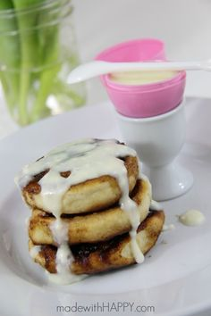 Cinnamon Roll Waffles with Cream Cheese Glaze - made with HAPPY