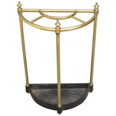 View this item and discover similar for sale at - a Victorian brass demilune umbrella stand / stick stand, having 5 sections for umbrellas and walking sticks with finials and a drip tray, all in Corner House, Cool Furniture, Victorian, Brass, Mirror, Umbrella Stands, Antiques, Vintage Umbrella, Home Decor