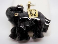 Black-Jade-Elephant-Pendant-with-Natural-Ruby-eye-and-10k-solid-gold-NEW-151