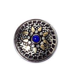 Noosa Amsterdam chunk ZER ZAR. Deze Kazakh zer zar amulet geeft bescherming - Goud/zilver/blauw - NummerZestien.eu