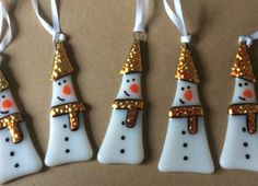 Fused Glass Christmas Snowman Decoration Ornament Gift