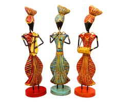 Three Punjabi Musicians. Hand embossed and painted in vibrant colours. Add to the ethnic feel of your décor.  (There may be very MINOR VARIATIONS in color combinations and figure designs, between displayed and dispatched products, due to variety of artisans who handcraft the products. The look, feel and quality will , however, be consistent with what you see. That is an Indikala promise). .