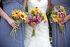 natural, rustic, wildflower bouquets