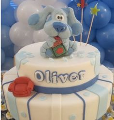 Blue Clues birthday cake with two tiers and thinking chair with blue clues cake topper pictures.PNG