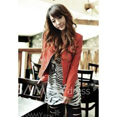Stylish Long Sleeve Solid Color PU Leather Zipper Design Jacket For Women