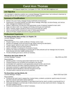 Licensed Massage Therapist Resume Template  Massage Therapy Resumes