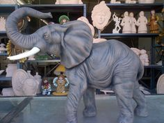 Elephant, look in the background. I've never seen a lot of those bisque before. Elephant Home Decor, Animal Totems, Spirit Animal, Elephants, Pet Birds, Animals And Pets, Paper Art, Fantasy Art, Mandala