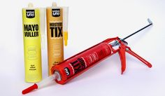 What do a bathtub and a hot dog have in common? Ketchup, mayo & mustard dressed up as caulking guns.