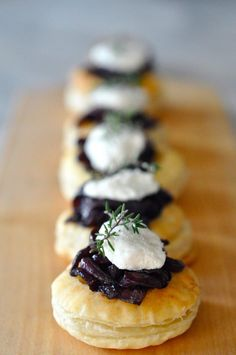 Red Wine Caramelized Onions and Goat Cheese Tartlets with Thyme