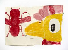 GNYP Gallery - Rose Wylie, Chicken and Red Fly, watercolour and collage, framed 143 x 172 cm Rose Wylie, Video Artist, Royal College Of Art, Collage Frames, Cool Paintings, Painting & Drawing, Contemporary Art, Art Gallery, Watercolor