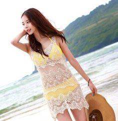 Saída de praia colorida em crochê