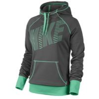 Nike All Time Graphic Hoodie - Women's - Dark Grey/Green Glow