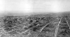 Ruins of San Francisco, Nob Hill in foreground, viewed from the Lawrence Captive Airship from a height of 1,500 feet on May 29, 1906, 41 days after the disaster.
