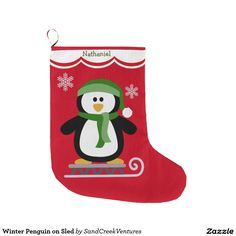 Winter Penguin on Sled Large Christmas Stocking