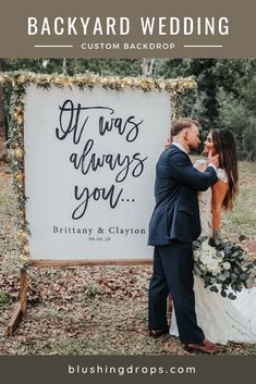 Planning a backyard wedding? Here's perfect decoration ideas! Display custom romantic quotes on your special day. #backyardwedding #intimatewedding #smallwedding #weddingbackdrop Small Wedding Decor, Backyard Wedding Decorations, Wedding Ceremony Backdrop, Wedding Signage, Outdoor Ceremony, Wedding Tips, Wedding Photos, Wedding Planning, Indoor Wedding