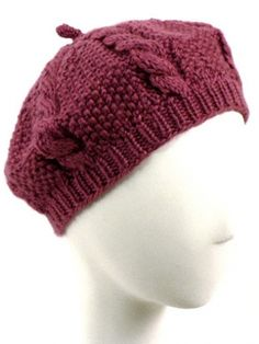 Cabled Beret   Yarn   Free Knitting Patterns   Crochet Patterns   Yarnspirations