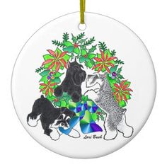 3 Schnauzers Wreath Ornament #schnauzer #miniatureschnauzer #wreath #ornament #Christmas #loribushart
