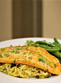 Trout and Orzo with Blue Cheese and Walnuts | Delicious Cooking