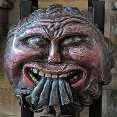 Southwark Cathedral Devil- A 'roof boss', dating back to mediaeval times; it was moved to the nave back in 1469, along with several others, when the original roof collapsed. It shows the Devil swallowing Judas Iscariot.