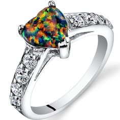 Created Black Opal Heart Ring Sterling Silver 1.00 Carats Sizes 5 to 9 * More info could be found at the image url. (This is an affiliate link and I receive a commission for the sales) #Rings