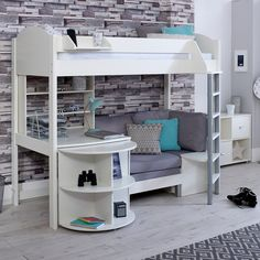 Stompa Casa Kids High Sleeper Bed In White - Kids Avenue High Sleeper With Desk, High Sleeper Bed, Pine Bed Frame, Chair Bed, Sofa Bed, Desk Chair, Casa Kids, Bed Shelves, Bookcase Desk