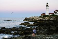 Engagement session in Portland Maine at The Portland Head Light with Bethany and Dan Photography! www.bethanydan.com