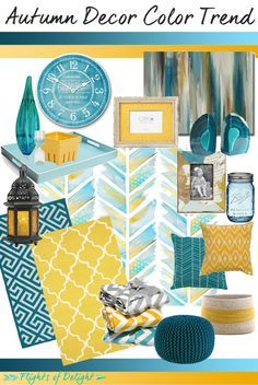 Autumn Decor Color Trend Mood Board | Teal  Mustard | via FlightsOfDelight.com