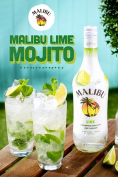 Give your classic mojito an extra twist with new Malibu Lime! Simple to make, refreshing to try Show off your skills by making your crew a Malibu Lime Mojito - food_drink Malibu Cocktails, Beach Cocktails, Refreshing Cocktails, Cocktail Drinks, Cocktail Recipes, Drinks With Malibu Rum, Easy Summer Cocktails, Summer Drink Recipes, Tutorials