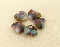 Charm Flower Twist Lampwork Glass Beads Heart Shape ---- 12mmx13mm ----about 6 Pieces. $2.65, via Etsy.