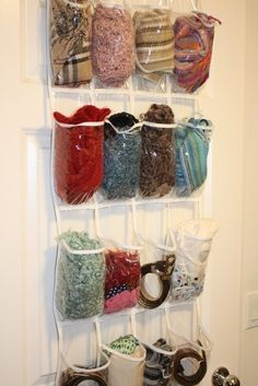 Store scarves in a clear plastic shoe bag. | 24 Easy Ways To Get Your Home Ready For Winter
