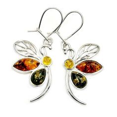'Lovely Dragonfly' Sterling Silver Natural Multicolor Baltic Amber Dangle Earrings