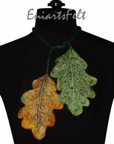 Fiber art necklace oak leaves  Felted necklace  by EniartsFelt