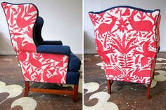 modern wingchair with otami fabric