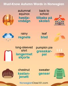 Must-Know Autumn Words in Norwegian Sweden Language, Norway Language, Learning Languages Tips, Foreign Languages, Norwegian Words, Learn French Fast, Proverbs Quotes, Norway Travel, How To Treat Acne