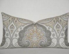 acee478177bd Kravet - Decorative Pillow Cover ~ Grey ~ Tan ~ Accent Pillow ~ Paisley  IKAT ~ Latika In Limestone