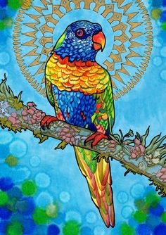Loving Lorikeet (Psychedelic Haloed Rainbow Bird Drawing in Sky Blue Marker and Gold Shimmering Paint)