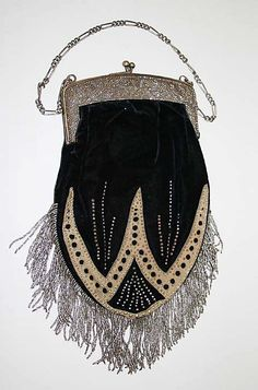 Purse, probably French: ca. 1902, silk/leather/metal.