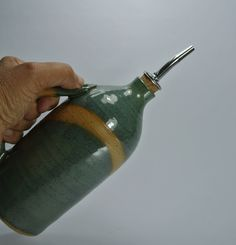 Olive oil dispenser, olive oil bottle, ceramic olive oil bottle, clay bottle, vinegar cruet, pottery oil bottle, oil pourer, Blue oil cruet. by BakBook on Etsy
