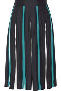 Diane von Furstenberg - Melita Pleated Silk-blend Skirt - Midnight blue - US12