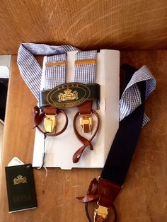 LEYVA, mens brand new, fabulous, silk and leather braces, now in stock at the Leeds shop