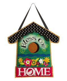 This 'Bless Our Home' Burlap Door Hanger is perfect! #zulilyfinds