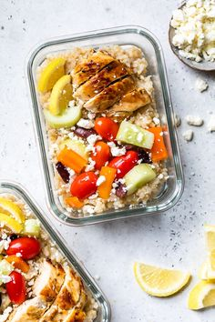 These Meal Prep Greek Rice Bowls are similar to my Greek Chickpea Salad but served warm with chicken and rice instead of chickpeas. It's an easy dish to meal prep for lunch or dinner Healthy Recipes, Cooking Recipes, Skinny Recipes, Ww Recipes, Skinny Meals, Dinner Recipes, Potato Recipes, Healthy Meals, Vegetarian Recipes