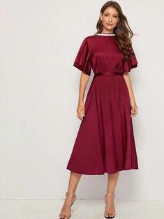 Hot Dress, Dress P, Tweed Dress, Collar Dress, Satin Dresses, Stylish Dresses, Types Of Sleeves, Sexy, Look