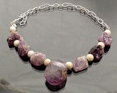 Ametrine and Amethyst necklace with Sterling Silver beads and hammered clasp