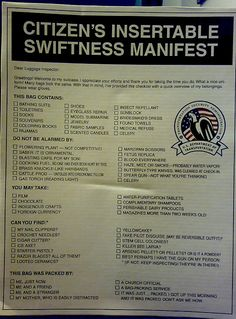 Rock the TSA with Style: Citizen's Insertable Swiftness Manifest. From McSweeny's by jm3, via Flickr