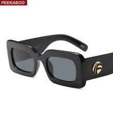 Peekaboo black rectangle sunglasses women brand designer 2018 white leopard small square red sun glasses for women uv400(China)