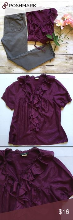 """J. Crew silk blend plum blouse Airy silk blend top with ruffle detail. Tie neck can be worn open or tied. Gently loved. 57/43 cotton, silk. 24.5""""L. 20"""" bust laying flat. Size 6. *Gray skinny jeans pictured are also for sale in my closet. Buy the look and save! J. Crew Tops Blouses"""
