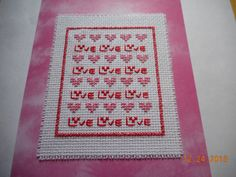 cross stitch card etsy shop - DebbyWebbysCards hearts and love